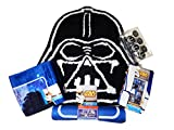 Star Wars Bathroom Set, Shower Curtain, Hooks, Bath Rug, Bath Towel, and Bath Tub Mat (Navy Star Wars Block)