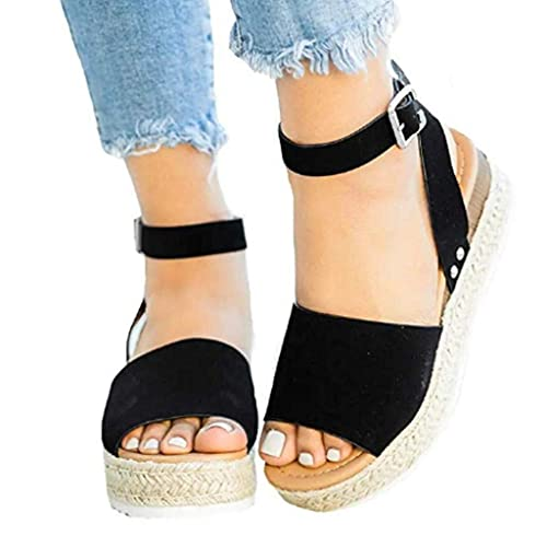 59314da585 Manmorda Women Sandals Wedges Platform Shoes, Ladies Outdoor Fashion  Non-Slip Leisure Comfortable Casual Women's Rubber Sole Studded Wedge  Buckle Ankle ...