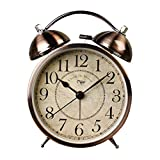 Small Decorative Desk Clock,4 inch Vintage Silent Battery Operated Clock Gold,Non Ticking for Elderly Senior