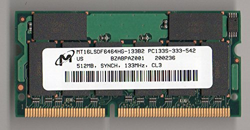 MICRON MT16LSDF6464HG-133B2 PC133 CL3 512MB SODIMM (for Notebook ONLY)