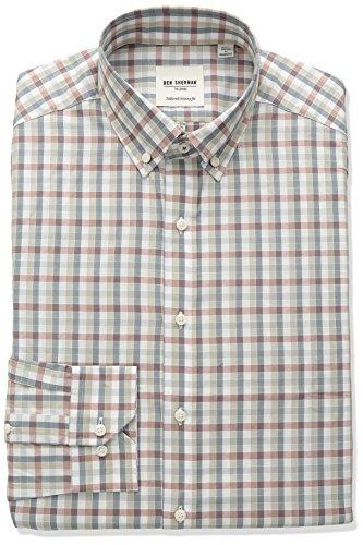 ben-sherman-mens-skinny-fit-check-stripe-button-down-collar-dress-shirt-rust-tan-grey-165-neck-34-35