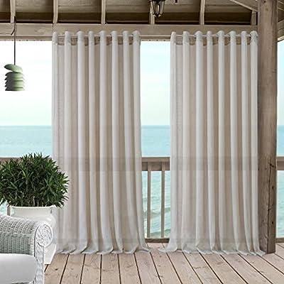 Carmen Sheer Extra ancho interior/exterior ojal parte superior solo Panel cortina de ventana cortina de DRAPE/Patio, carpa y pérgola Panel incluye 1 Tieback: Amazon.es: Jardín