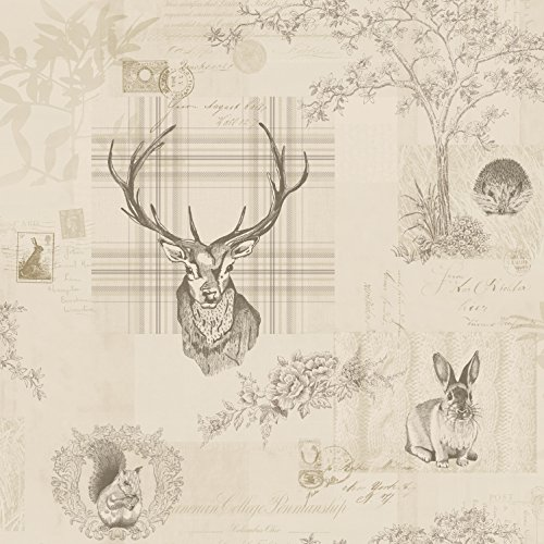 Charcoal Grey / Linen - 98012 - Nature - Check - Tartan - Stag - Trees - Calligraphy - K2 - Holden Wallpaper