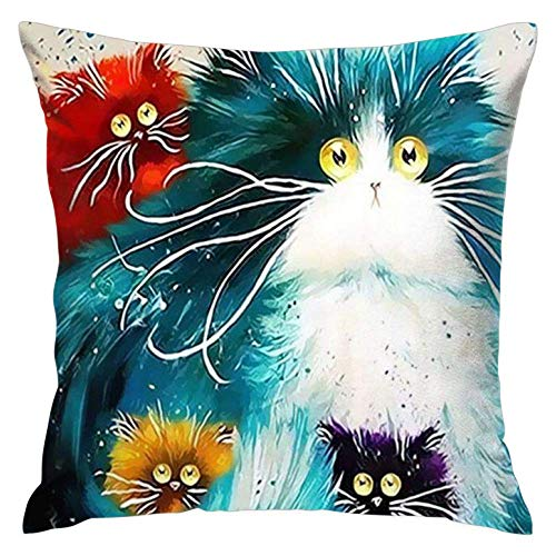 Feddiy 5D gato bricolaje pintura Series Cute Animal Polyester Fiber Decorative Throw Pillow Case Cushion Cover Pillowcase for Sofa 20 x 20 Inch, Set of 1
