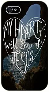My heart will sing of Jesus - Sea Mountains - Bible verse iPhone 4 / 4s black plastic case / Christian Verses