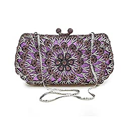 Ladies Crystal Purple Clutch Bags