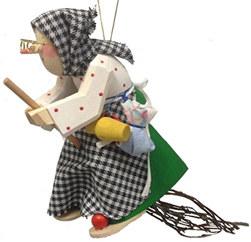 Pinnacle Peak Trading Company Polka Dot Kitchen Witch Riding a Broom German Wood Halloween Ornament Germany