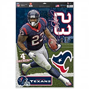 "NFL Houston Texans Arian Foster Multi-Use Decal Sheet, 11""x17"", Team Color"