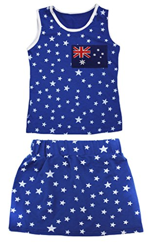 Australia Dress Up (Petitebella Australia Flag Patriotic Stars Cotton Shirt Blue Skirt Set 1-8y (3-4 Years))