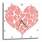 3dRose Taiche - Vector - Valentines Day Hearts Pink - A Heart Full Of Love Pink Valentine Hearts Within A Heart - 15x15 Wall Clock (dpp_275625_3)