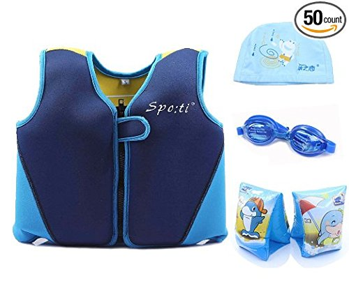 Titop Infant Baby Life Jacket Under 20 Lbs Children Life Vest Blue+Yellow Back Small Package+Swimming Cap+Swimming glasses+Floatation Sleeves]()