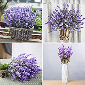 Guagb Artificial Lavender Silk Flowers Plastic Fake Plant Make a Bountiful Flower Arrangement Decor Your Outdoor Indoor House 2