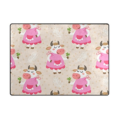 My Little Nest Area Rug Cute Cow Lightweight Non-Slip Soft M