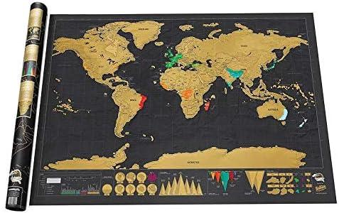Amazon Com T Deluxe Scratch Map Black Mapa Creative Scratch Off