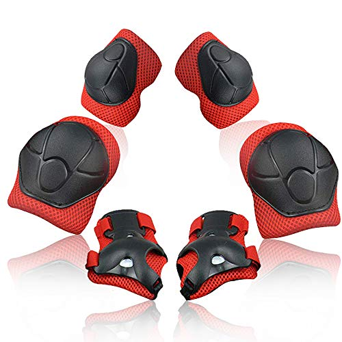 Wemfg Kids Protective Gear Set Knee Pads for Kids 2-8 Years Toddler Knee and Elbow Pads with Wrist Guards 3 in 1 for Skating Cycling Bike Rollerblading Scooter(Red)