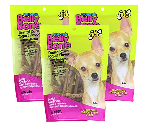 Fido Dental Care Belly Bones for Dogs, Yogurt Flavor - 21 Mini Treats Per Pack, Pack of 3 - Safely Digestible Chew That Promotes Plaque and Tartar Control-Helps to Support Your Dog's Digestive Health ()