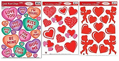 (Valentines Day Window Clings, Bundle of 3 )
