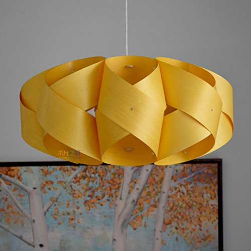 Handmade Wood Orbit Hanging 2-Light Pendant light! Handmade wood pendant lamp,Yellow basswood veneer,ceiling light,hanging lamp,chandelier lighting,pendant lighting ()