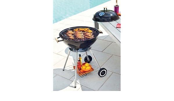BBQ Barbacoa de carbón, redonda con ruedas, estructura de cocción y tapadera de acero esmaltado y plataforma para organizar - para 4/5 comensales: ...
