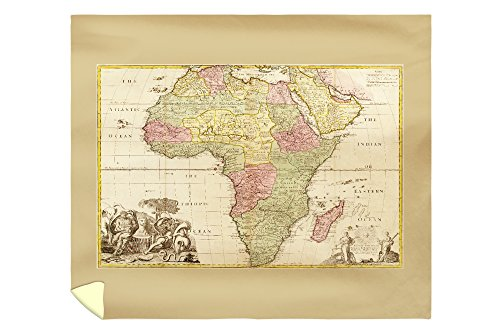 Africa - (1725) - Panoramic Map (88x104 King Microfiber Duvet Cover) by Lantern Press