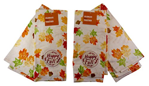 'Happy Fall' Autumn Leaves Fall Colors Kitchen Towels, Two Sets of (2).