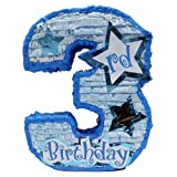 Aztec Imports Number Three Boys Third Birthday Pinata, Party Game, Centerpiece Decoration and Photo Prop with Star Window and Shiny Accents, Blue