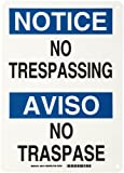 "Brady 38114 10"" Width x 14"" Height B-555 Aluminum, Blue and Black on White Bilingual Sign, English and Spanish, Header ""Notice/Aviso"", Legend ""No trespassing/No traspase"""