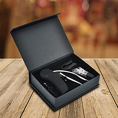 DAEM Sacacorchos de vino Set de regalo | abrebotellas profesional | Accesorios para vino con cortador de papel de aluminio, abrebotellas de vino espiral de repuesto y aireador de vino (decantador)