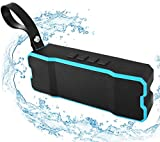 Bluetooth Waterproof Speaker,POWERIVER Portable 4.1 Bluetooth Computer Outdoor Speakers with MP3 Player 15W IPX65 for iPhone iPad and Pod