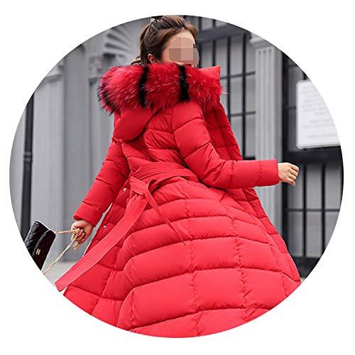 Khunria-show-outerwear Women Big Fur Belt Hooded Thick Down Female Jacket Slim Warm Winter Outwear 2019 New,Red Fur,M