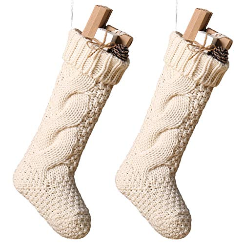 Toes Home 18 Inch Knitted Christmas Stockings, Pack 2 Xmas Gift Bags Cream]()