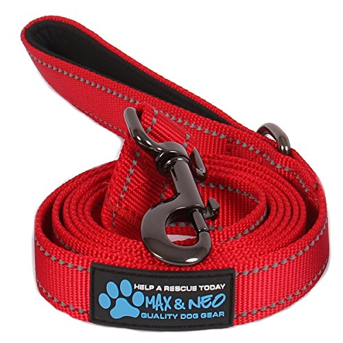 Max and Neo Reflective Nylon Dog Leash - We Donate a Leash to a Dog Rescue for Every Leash Sold (RED, 4 FT x 1)