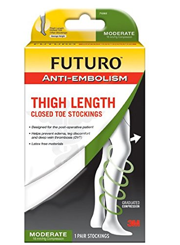 Closed Toe Stockings - Futuro Anti-Embolism Thigh Length Stockings, Designed for Post-Surgery Recovery, Moderate Compression, Closed Toe, Medium Regular, White