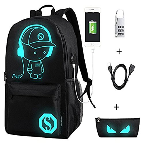 - Sunny Sep Unisex Casual Fashion Luminous Anime Notebook Laptop Backpack USB Charging Port Anti-Theft Lock & Pencil Case Daypack College School Bag Bookbag Travel Daypack