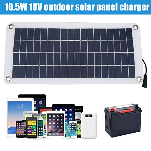 Portable Solar Panel Charger Powerbank 18V 10.5W Car Solar Panel Battery Charger Waterproof Outdoor High Efficiency Solar Panel Phone Charger for Cellphone Car Boat Motorcycle