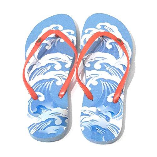 BRANDELIA Flip Flops Damen Dusch Badeschuhe und Sommer Strandschuhe, Angenehm Zu Tragen. Verschiedene Modelle und Farben Sohle Welle Blau, Band Orange