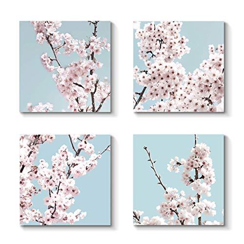 Grander Group Floral Artwork Landscape Picture Print - Blossom Painting on Canvas Set for Decor