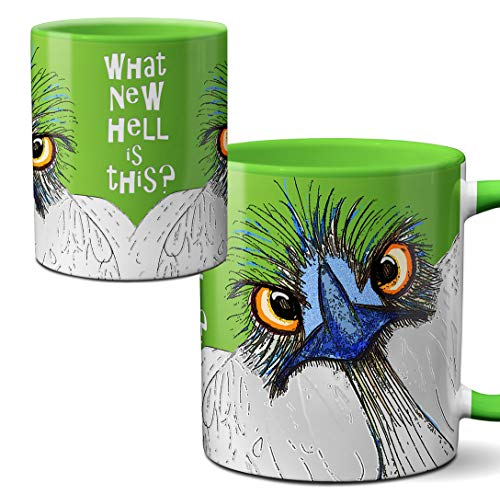 What New Hell Ostrich Emu Mug by Pithitude - One Single 11oz.Green Coffee Cup