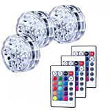 AnSaw Submersible LED Lights, IR Remote Controlled RGB Changing IP68 Waterproof Lights for Aquarium Vase Base Pond Swimming Pool Garden Party Weeding (3 Packs, 10-LED, RGB)