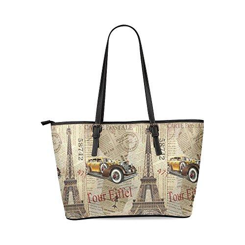 InterestPrint Vintage Poster Paris Eiffel Tower Torn Newspaper Women's Leather Tote Shoulder Bags Handbags