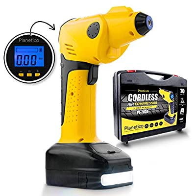 Cordless Air Compressor Tire Inflator - Powerful Portable Pump | Auto Preset-Stop | Rechargeable AC and DC | Digital LCD Pressure Gauge | Power Bank | Flashlight | 150 PSI | 12V - 10A | 55 L/Min from Planetico