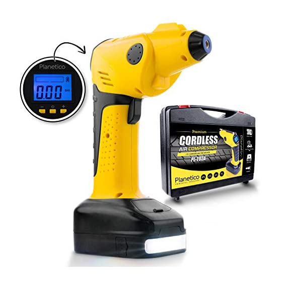 Cordless Air Compressor Tire Inflator – Powerful Portable Pump   Auto Preset-Stop   Rechargeable AC and DC   Digital LCD…