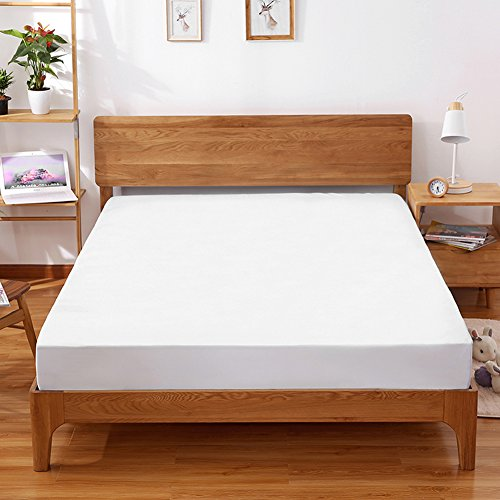 """ShineMe Mattress Protector Cover Stretches Waterproof&Dust Mite Proof, Bed Bug Proof Bedspreads Topper Cover Hypoallergenic 78.74""""59"""" Queen Size Full (White) by ShineMe"""