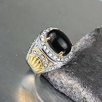 Handmade Fashion Stainless Steel Black Onyx Men Male Gold Finger Rings Size 7-10 (10)