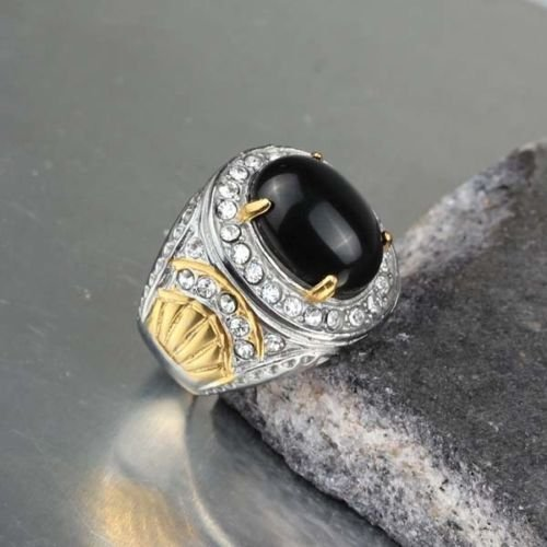 Handmade Fashion Stainless Steel Black Onyx Men Male Gold Finger Rings Size 7-10 (8)