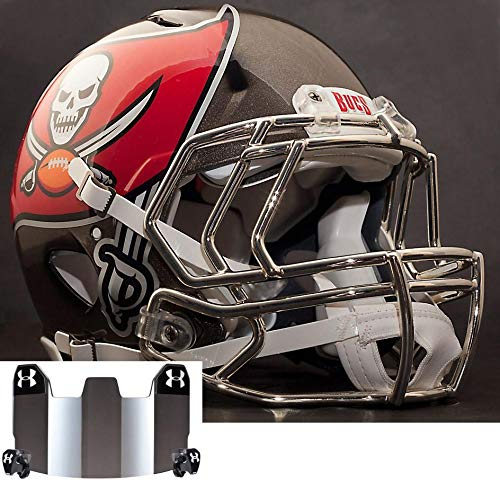 Riddell Speed Tampa Bay Buccaneers NFL Replica Football Helmet with S2EG Football Helmet Facemask/Faceguard and Mirrored Eye Shield/Visor (Replica Bay Helmet Tampa Football Buccaneers)
