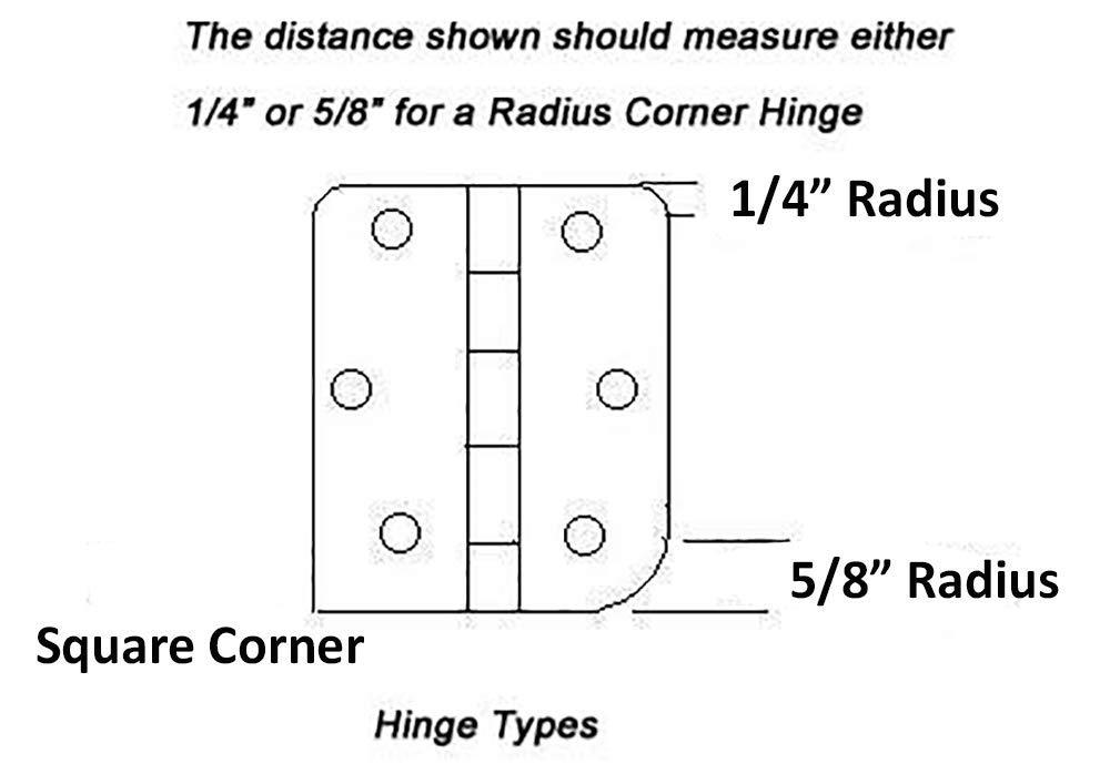 Dynasty Hardware 4 Door Hinges 1//4 Radius Corner Oil Rubbed Bronze 8-Pack