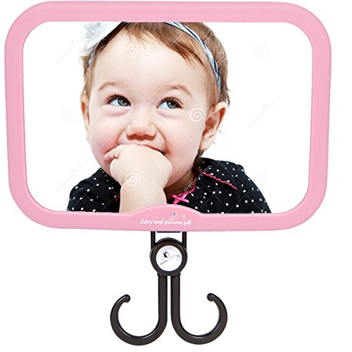 Girls - Pink Stork Style - with Accessories Hook! Best Back Seat View of Infant or Newborn in Rear-Facing Child Car Seat! Perfect Shower or Registry by Precious Gift ()