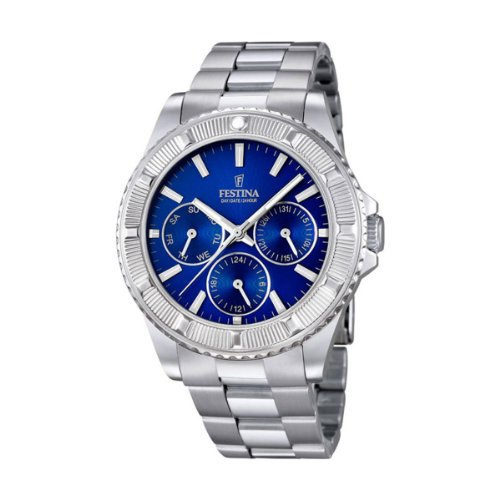 FESTINA unisex quartz Watch with blue Dial analogue Display and silver stainless steel Bracelet F16690/3