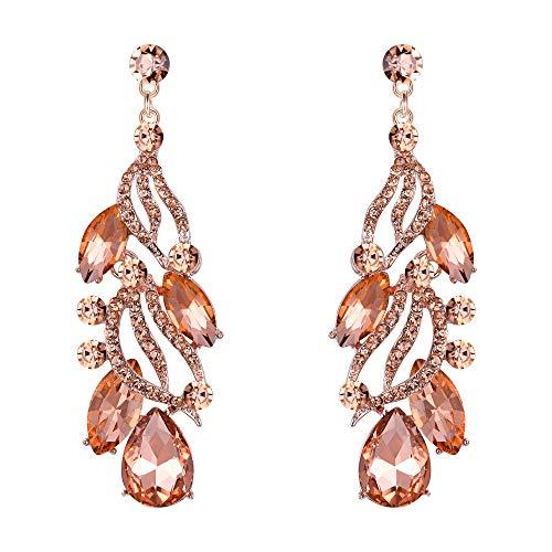 Flyonce Women's Austrian Crystal Wedding Bridal Floral Leaf Teardrop Chandelier Dangle Earrings Champagne Color Rose Gold-Tone ()